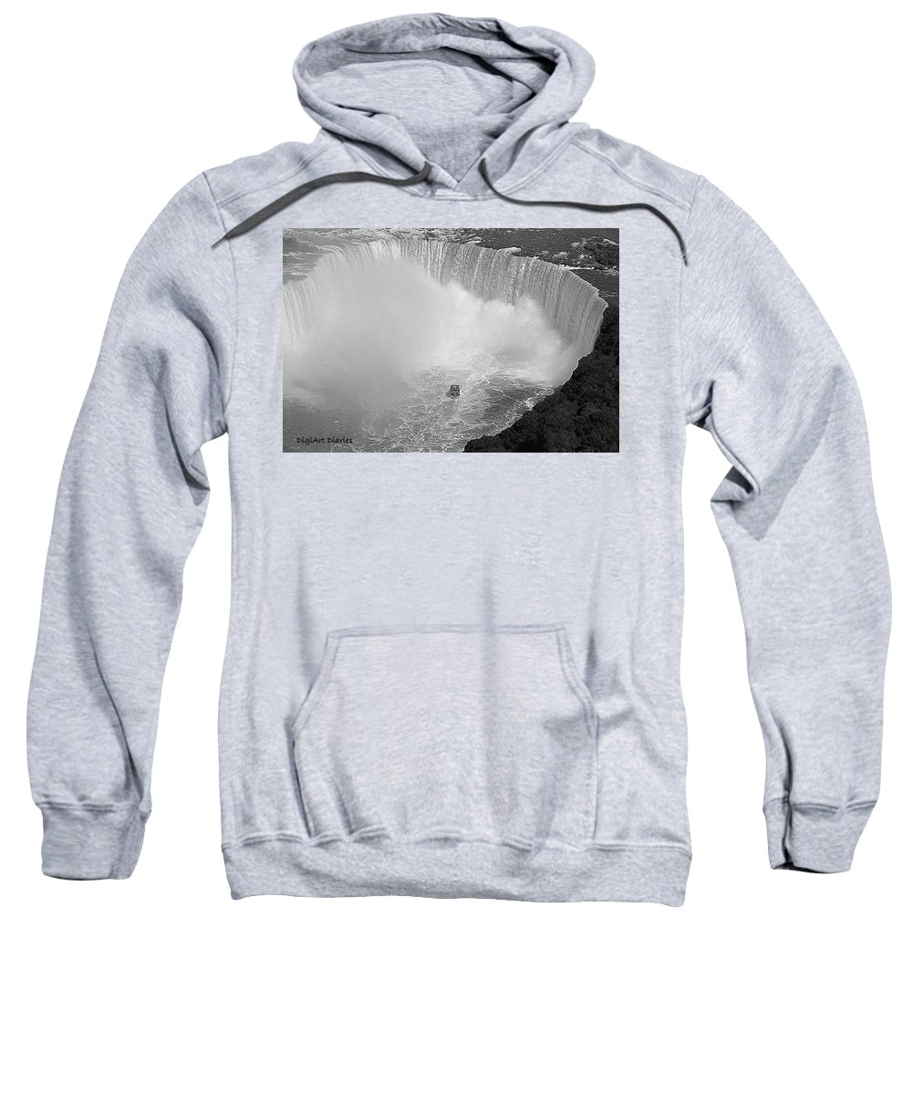 Falls Sweatshirt featuring the digital art Horseshoe Falls Black And White by DigiArt Diaries by Vicky B Fuller