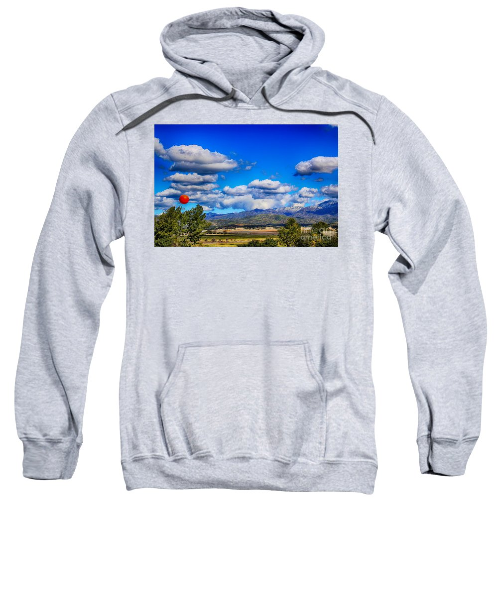 Great Park Balloon Sweatshirt featuring the photograph Hot Air Balloon Ride In Orange County by Mariola Bitner