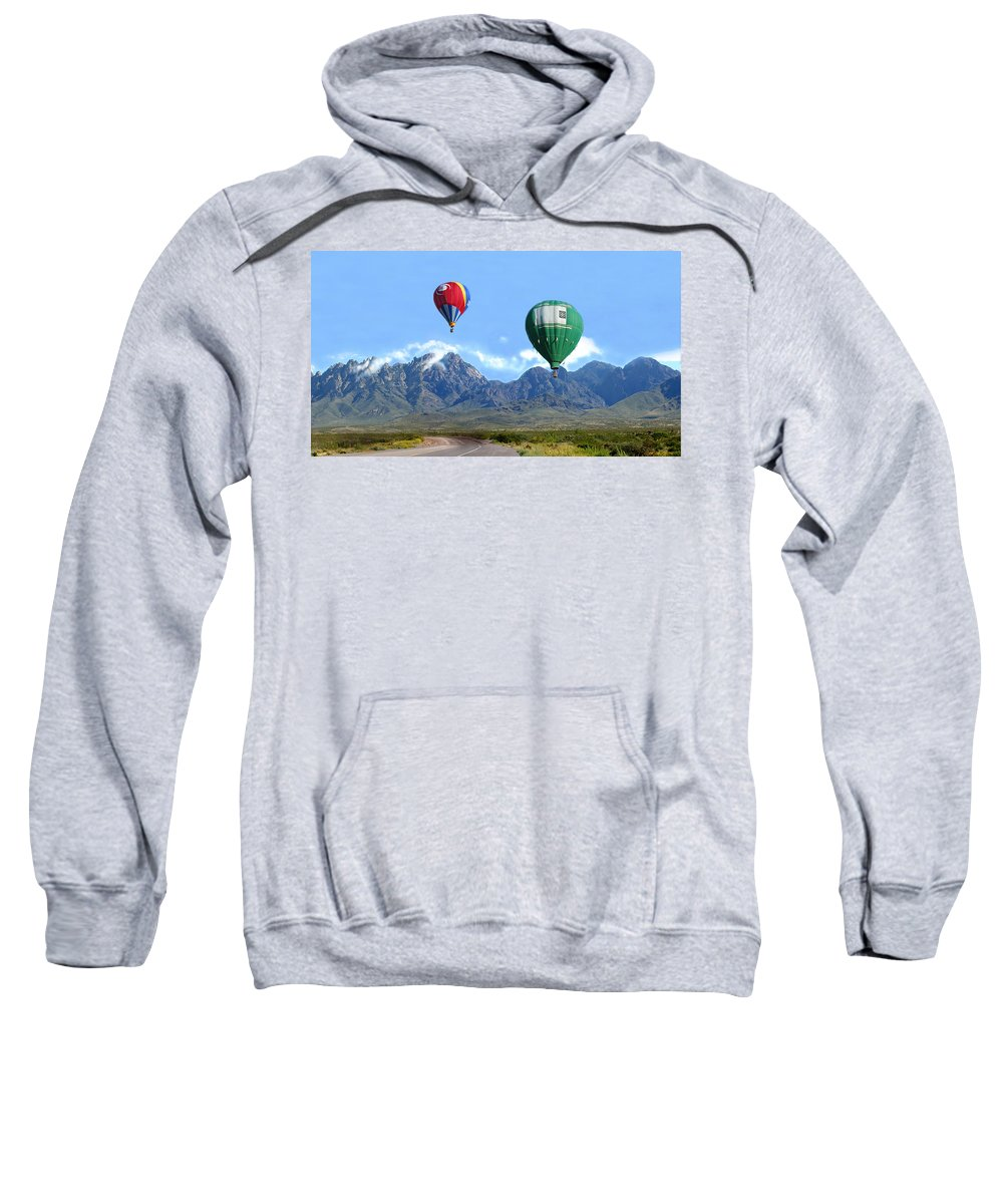 Organ Mountains-desert Peaks National Monument Sweatshirt featuring the photograph Hot Air Over The Organ Mountains by Jack Pumphrey