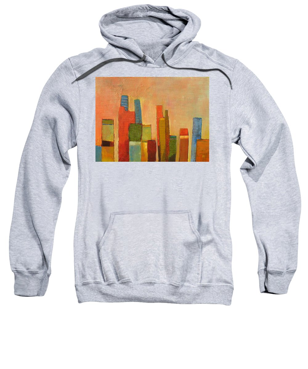 Abstract Cityscape Sweatshirt featuring the painting Hot Manhattan by Habib Ayat