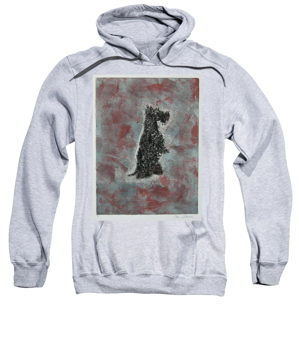 Scottish Terrier Sweatshirt featuring the mixed media Hot Scottie by Cori Solomon