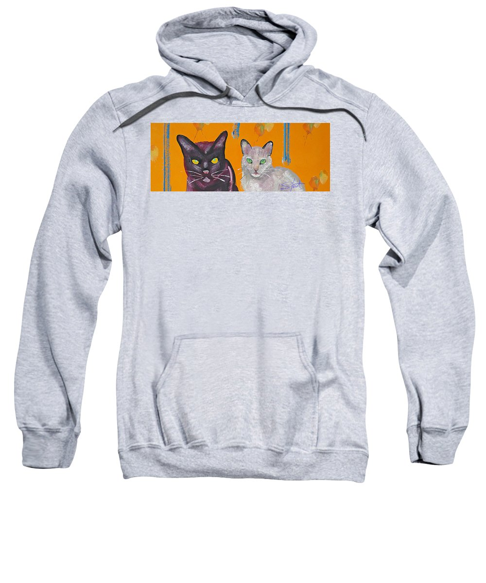 Cat Sweatshirt featuring the painting House Cats by Charles Stuart