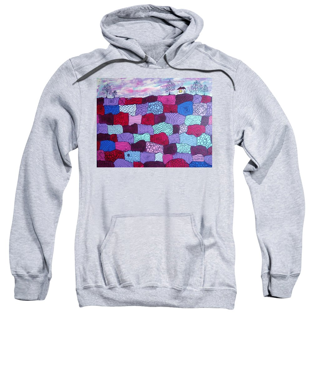 Folk Art Sweatshirt featuring the painting House On Top Of Patchwork Hill by Wayne Potrafka