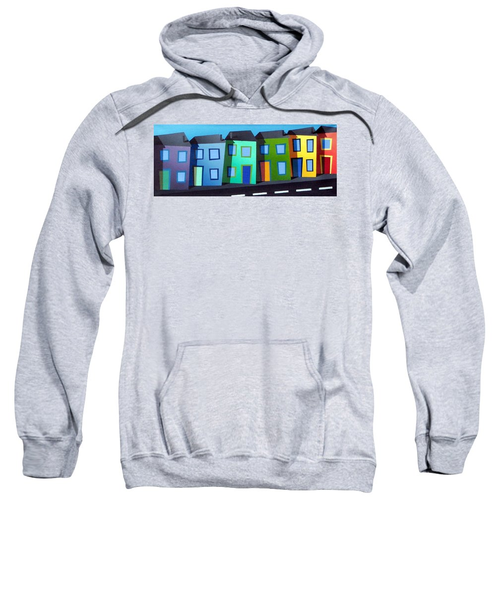 Dylan Cotton Sweatshirt featuring the painting House Party 14 by Dylan Cotton