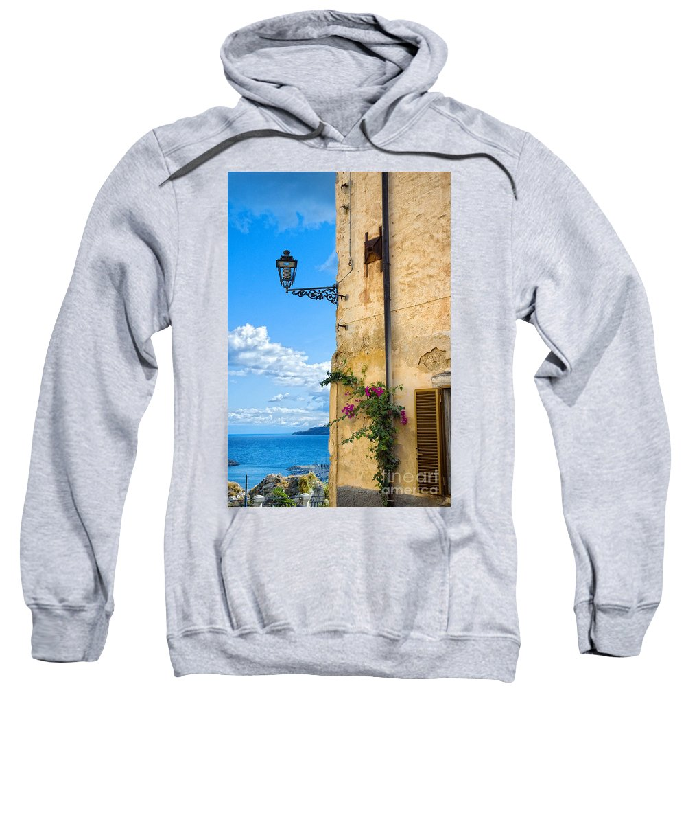 Architecture Sweatshirt featuring the photograph House With Bougainvillea Street Lamp And Distant Sea by Silvia Ganora
