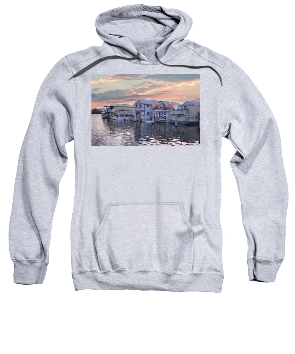 Houseboat Sweatshirt featuring the photograph Houseboat Row - Key West by Kim Hojnacki