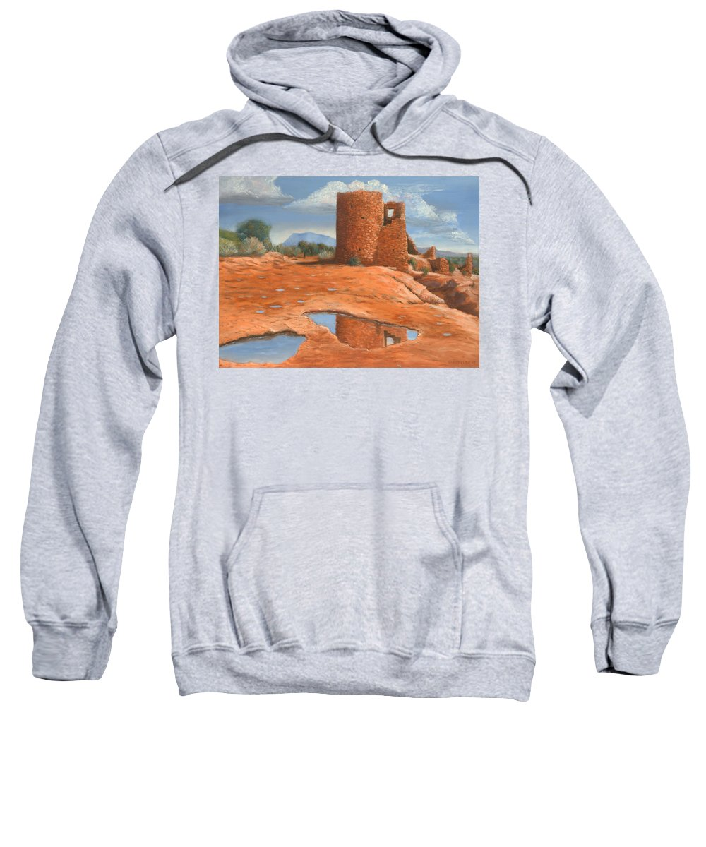 Anasazi Sweatshirt featuring the painting Hovenweep Reflection by Jerry McElroy