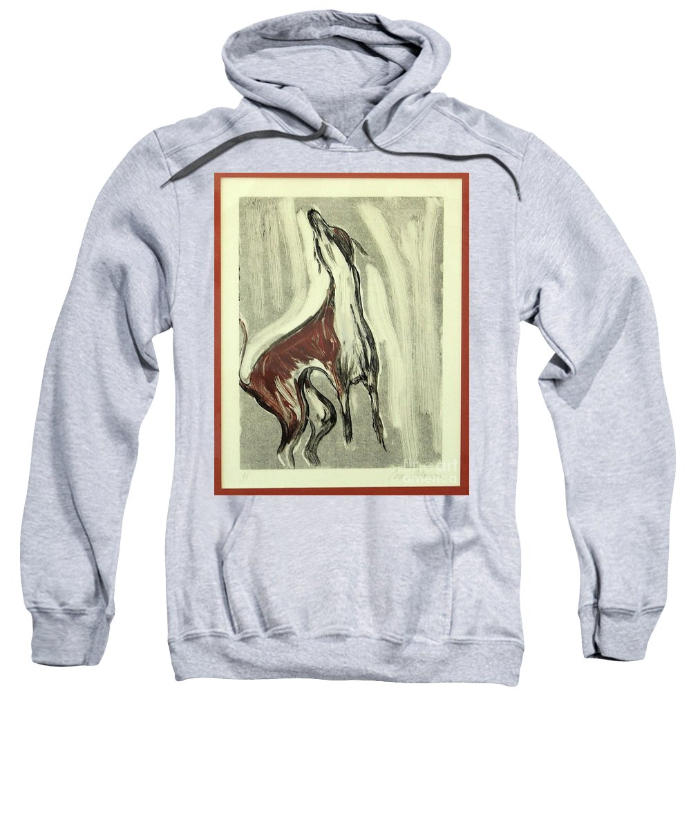 Monotype Sweatshirt featuring the mixed media Howling For Joy by Cori Solomon