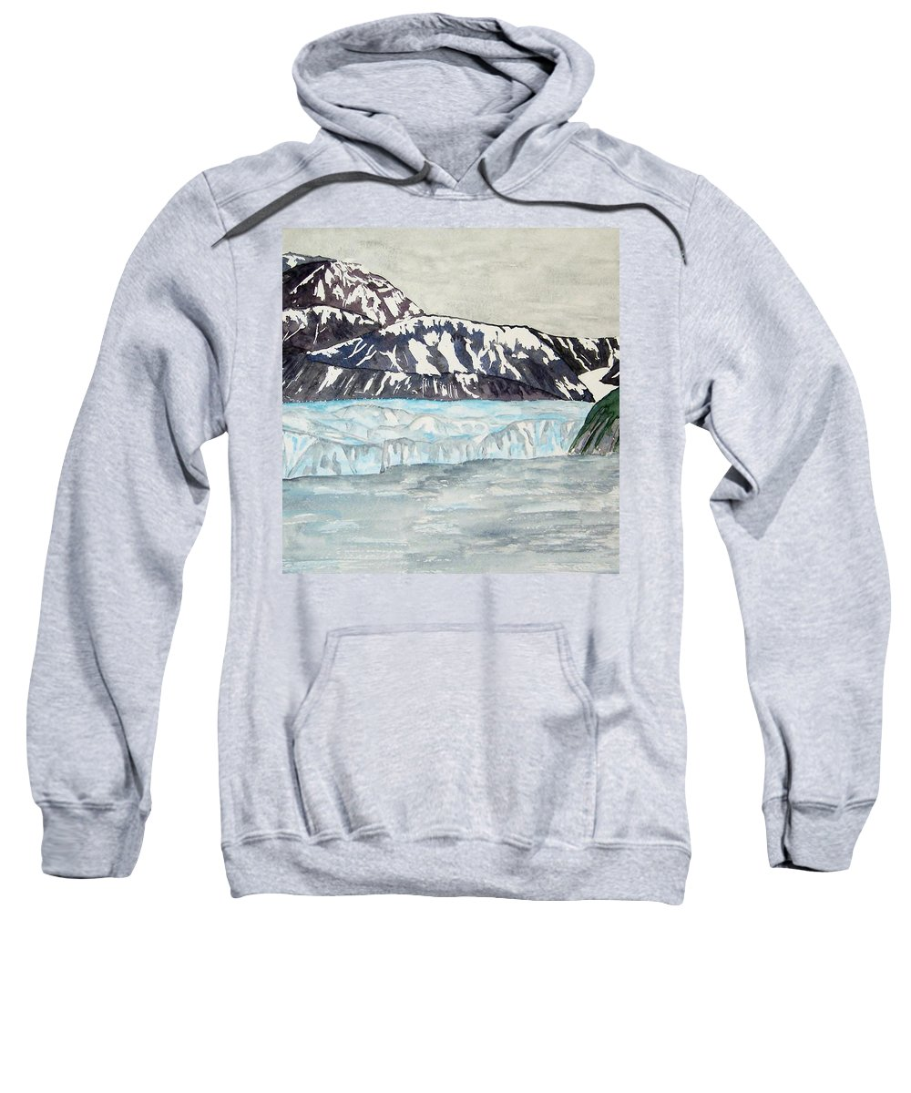 Glacier Sweatshirt featuring the painting Hubbard Glacier In July by Larry Wright