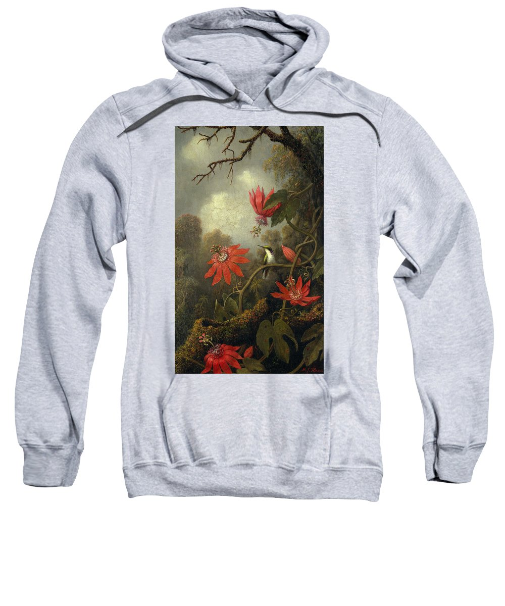 Hummingbird And Passionflowers Sweatshirt featuring the painting Hummingbird And Passionflowers by MotionAge Designs