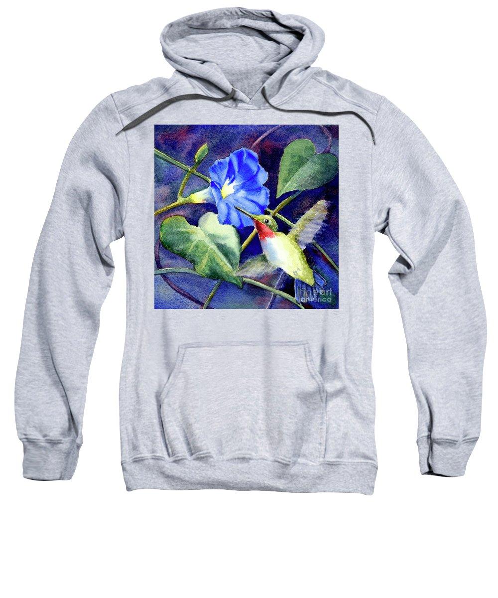 Hummingbird Sweatshirt featuring the painting Hummingbird Delight by Bonnie Rinier