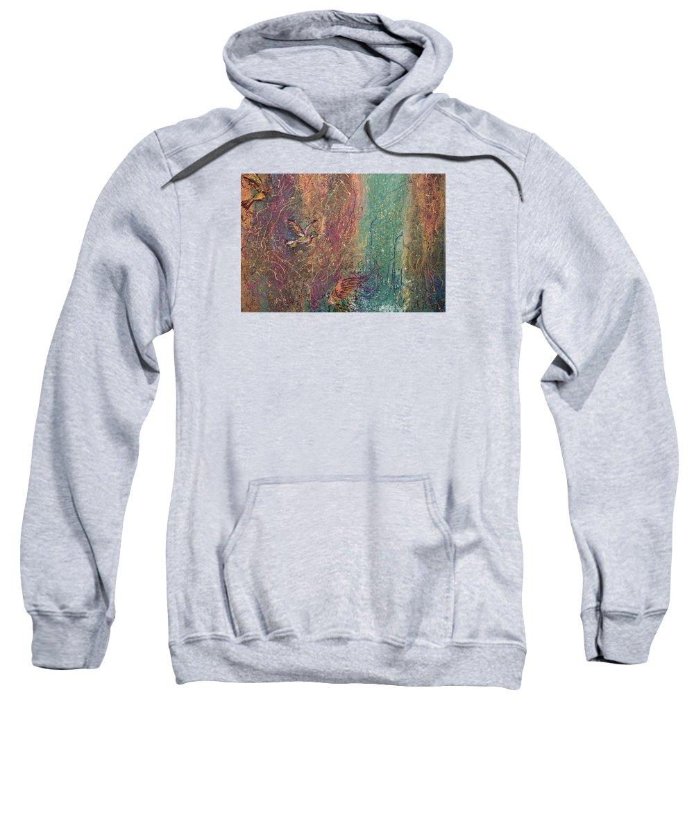 Abstract Acrylic Humming Birds Beautiful World Sweatshirt featuring the painting Hummingbird Dream by Gabriela Montemayor