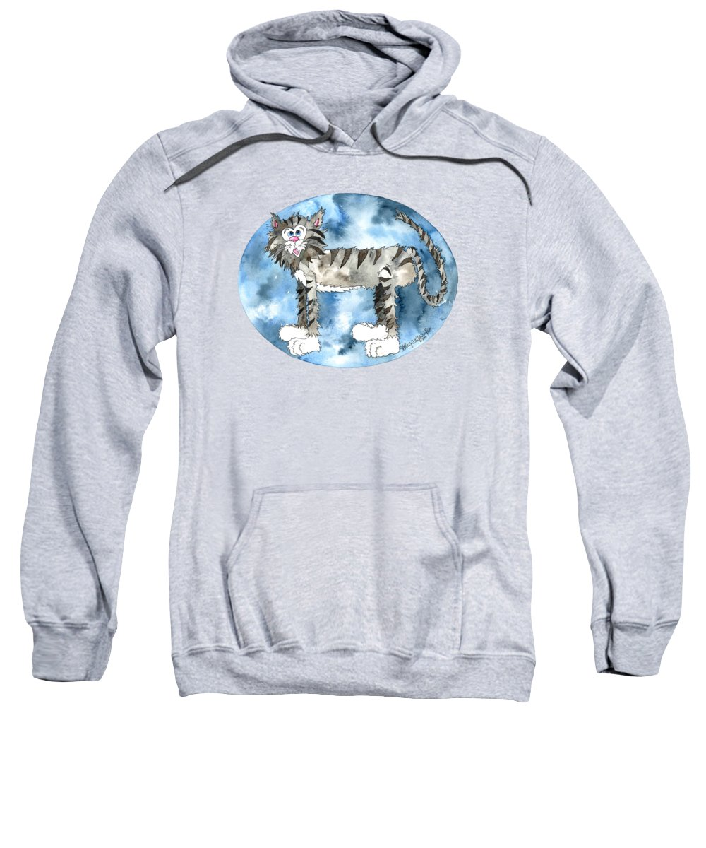 Cat Sweatshirt featuring the painting Humphrey by Shelley Wallace Ylst