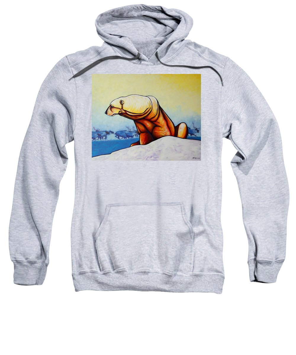Wildlife Sweatshirt featuring the painting Hunger Burns - Polar Bear And Caribou by Joe Triano
