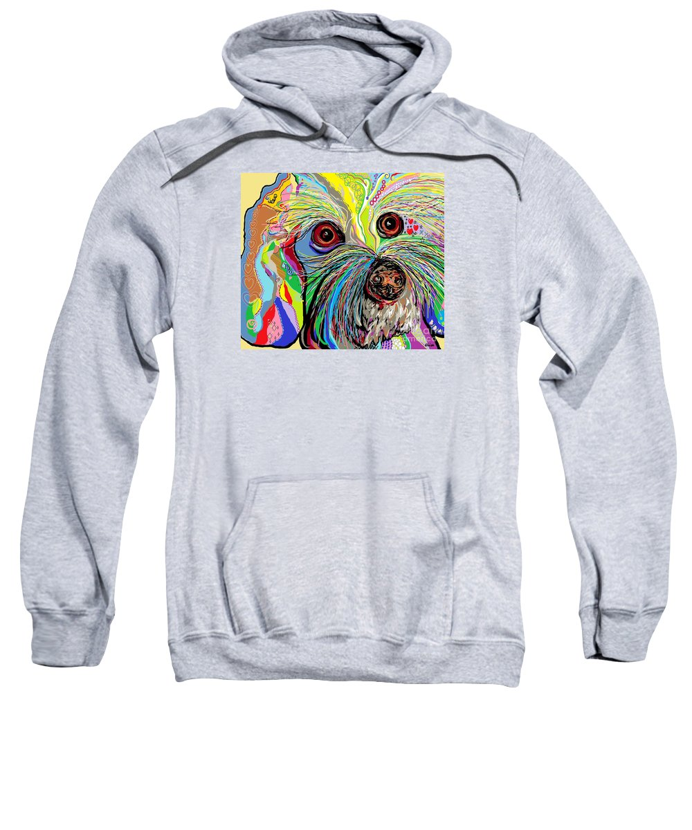 Bichon Sweatshirt featuring the painting Hunter The Bichon . . . He's A Shoe Man by Eloise Schneider Mote