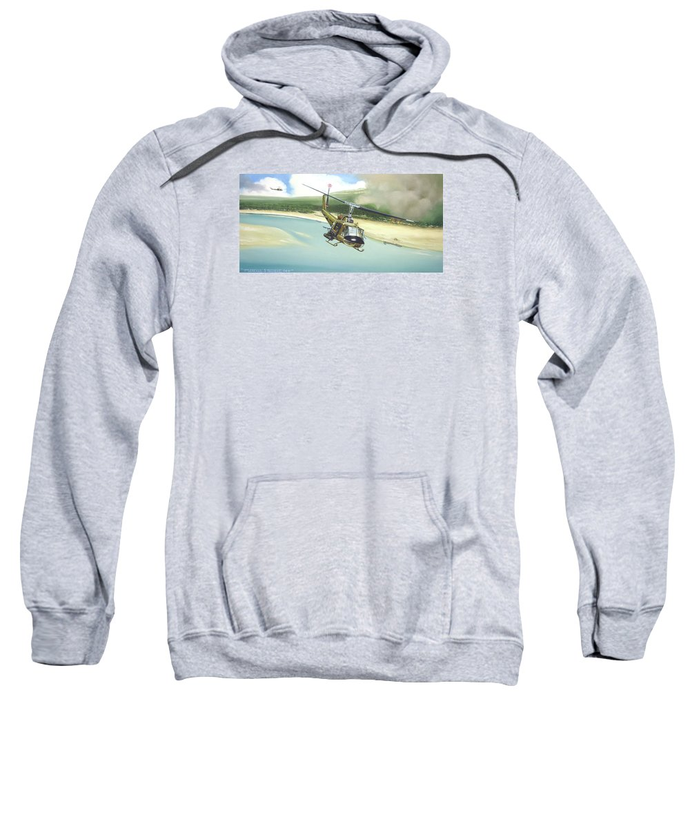 Military Sweatshirt featuring the painting Hunter Hueys by Marc Stewart