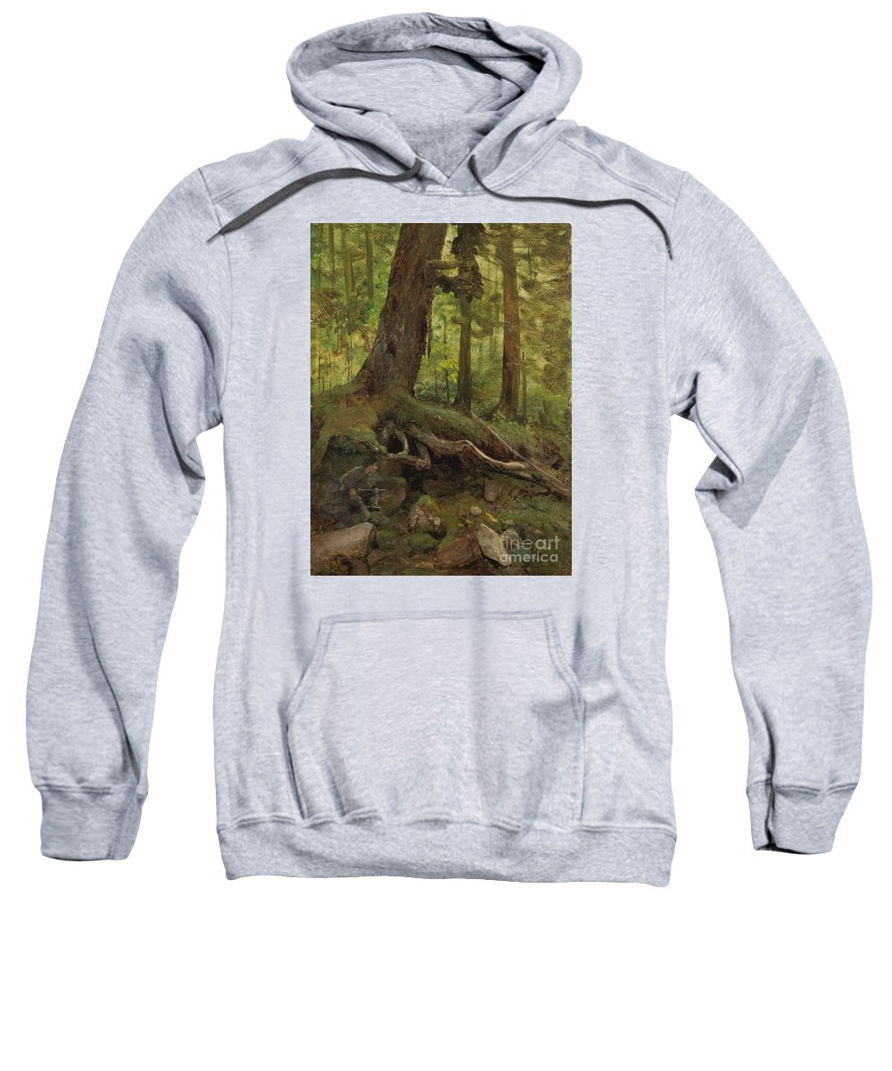 Albert_bierstadt_-_hunter_in_the_white_mountains_near_glen_house_(detail) Sweatshirt featuring the painting Hunter_in_the_white_mountains_near_glen_house by Celestial Images