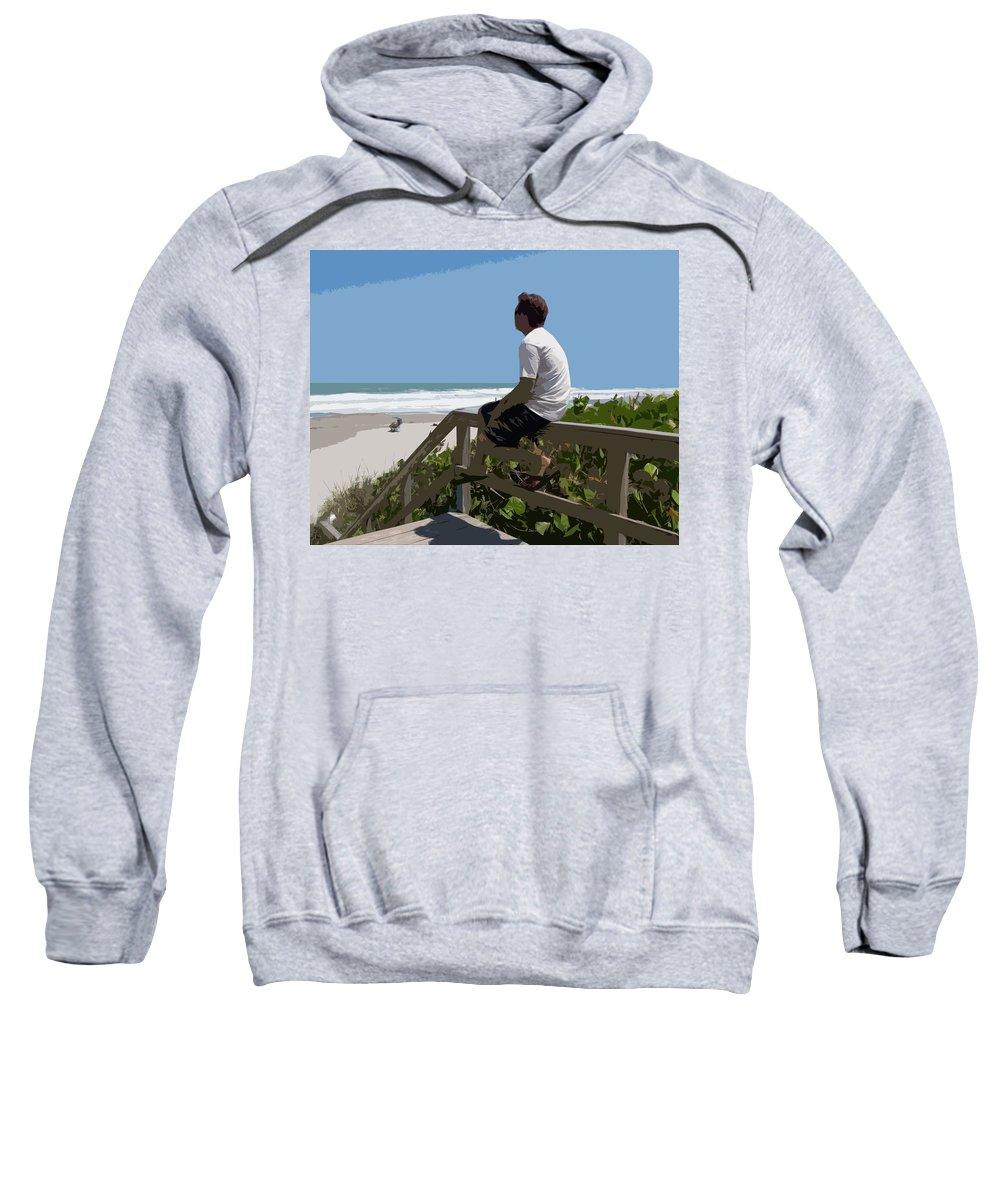 Hurricane Sweatshirt featuring the painting Hurricane Surf In Florida by Allan Hughes