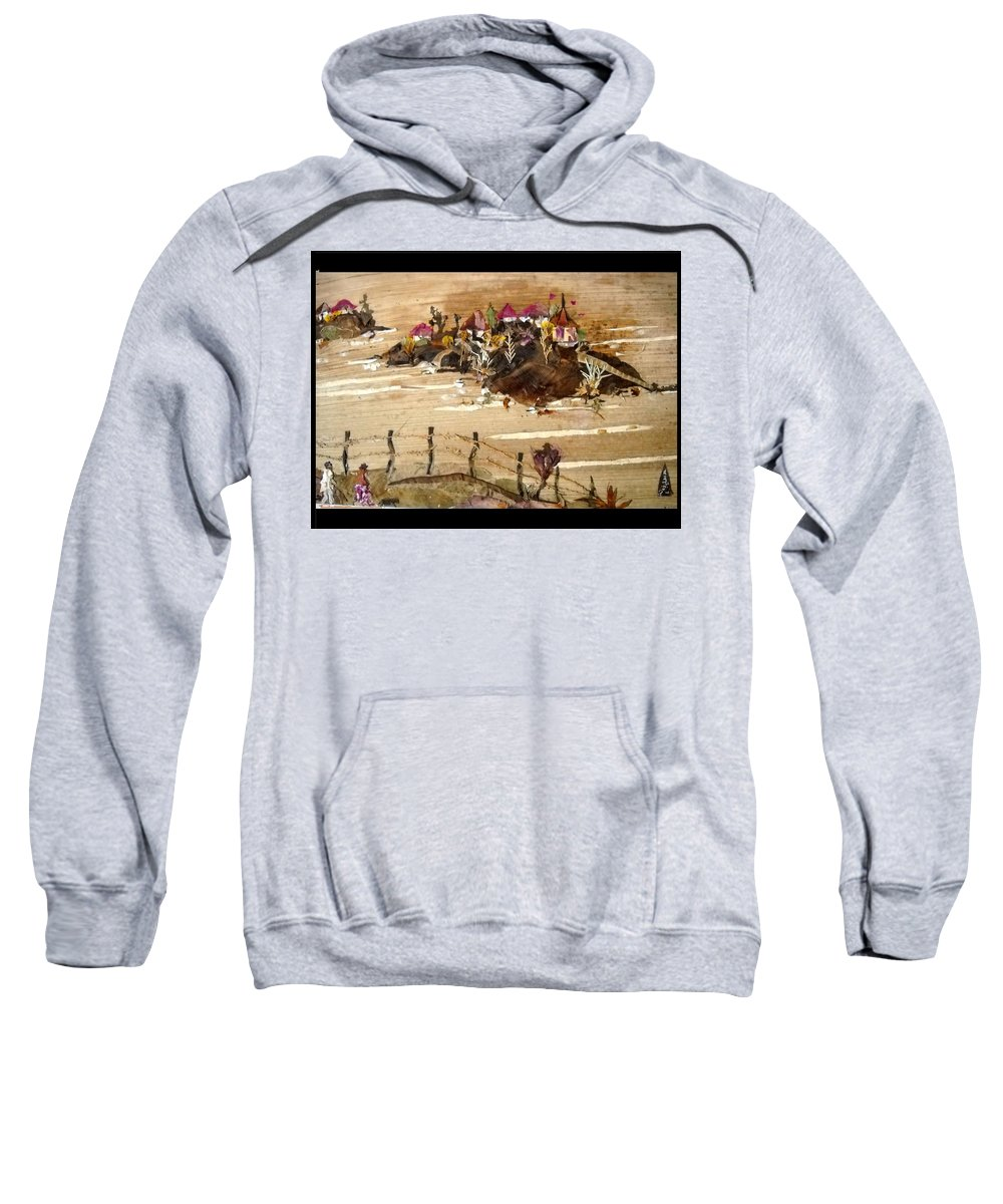 Temples On Huts Sweatshirt featuring the mixed media Huts And Temples On Hills by Basant Soni