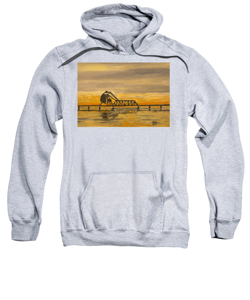 Railroad Sweatshirt featuring the painting Hx Draw by Christopher Jenkins