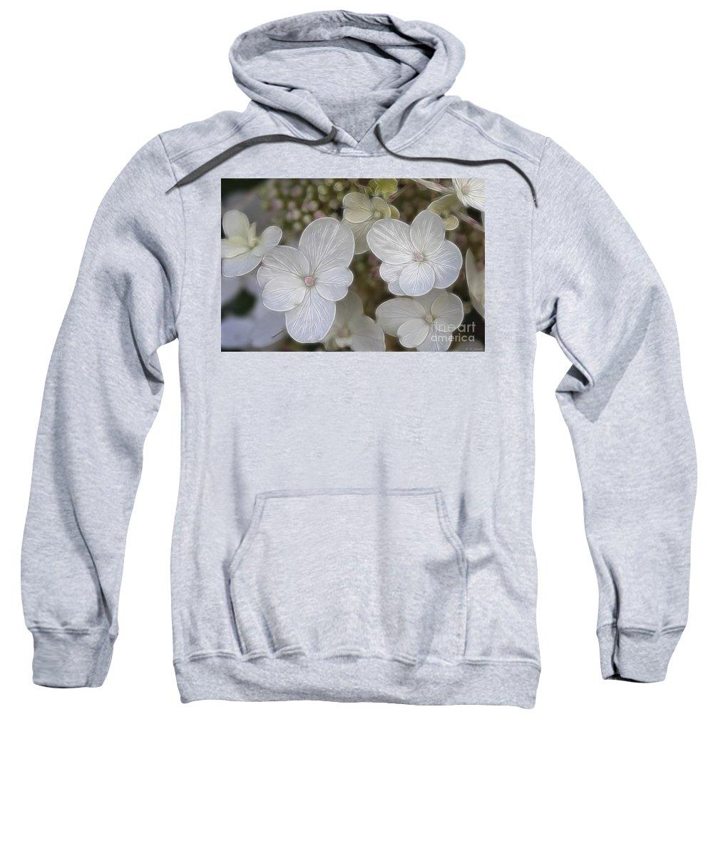 Flowers Sweatshirt featuring the mixed media Hydrangea Fractalius by Deborah Benoit