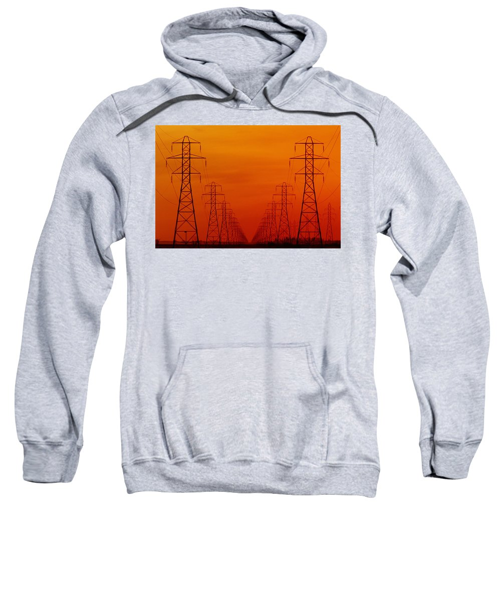 Color Images Sweatshirt featuring the photograph Hydro Power Lines And Towers by Mike Grandmailson