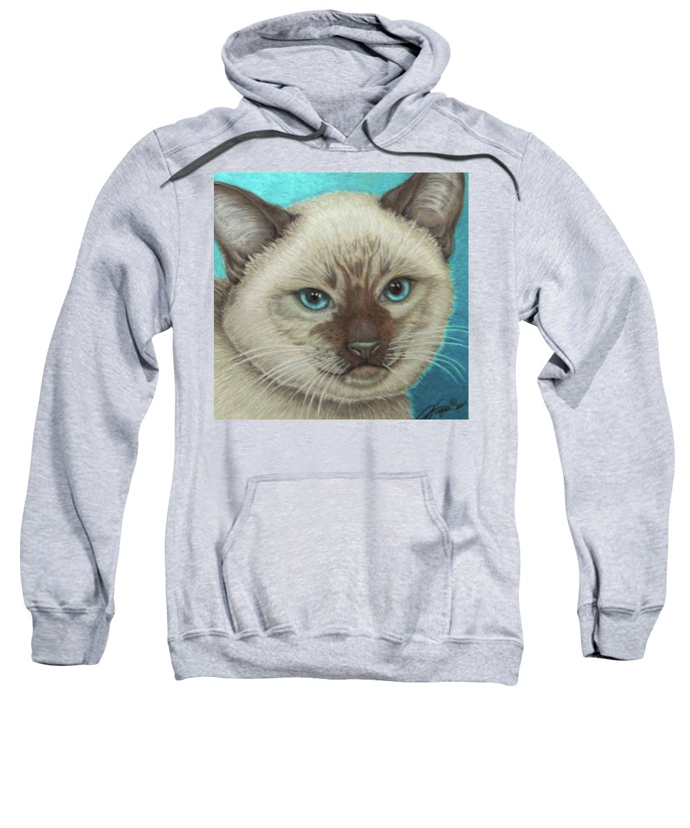 Fuqua - Artwork Sweatshirt featuring the drawing I Am Siamese If You Please by Beverly Fuqua