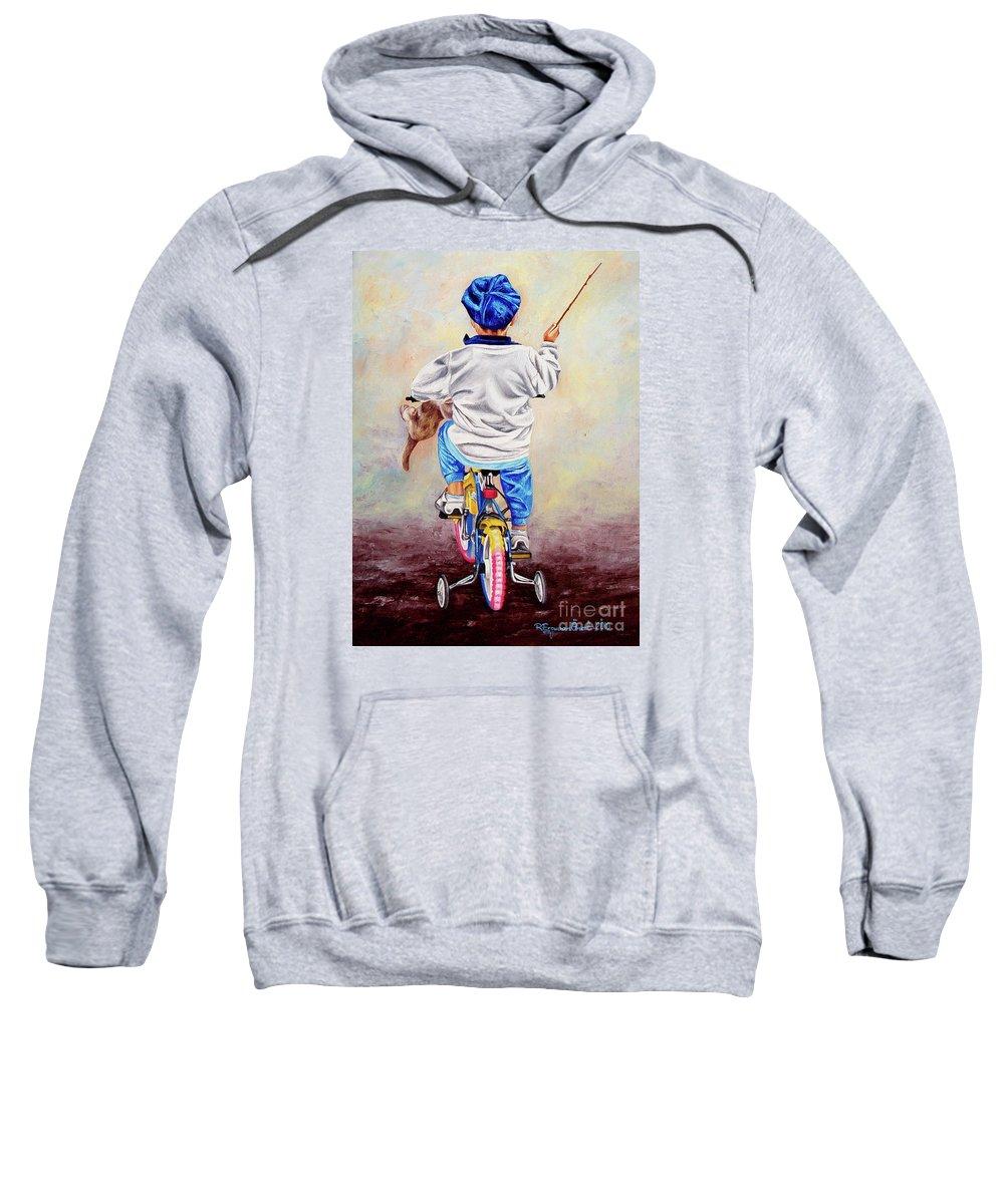 Kid Sweatshirt featuring the painting I Am The King Of The World 1 - Yo Soy El Rey Del Mundo 1 by Rezzan Erguvan-Onal