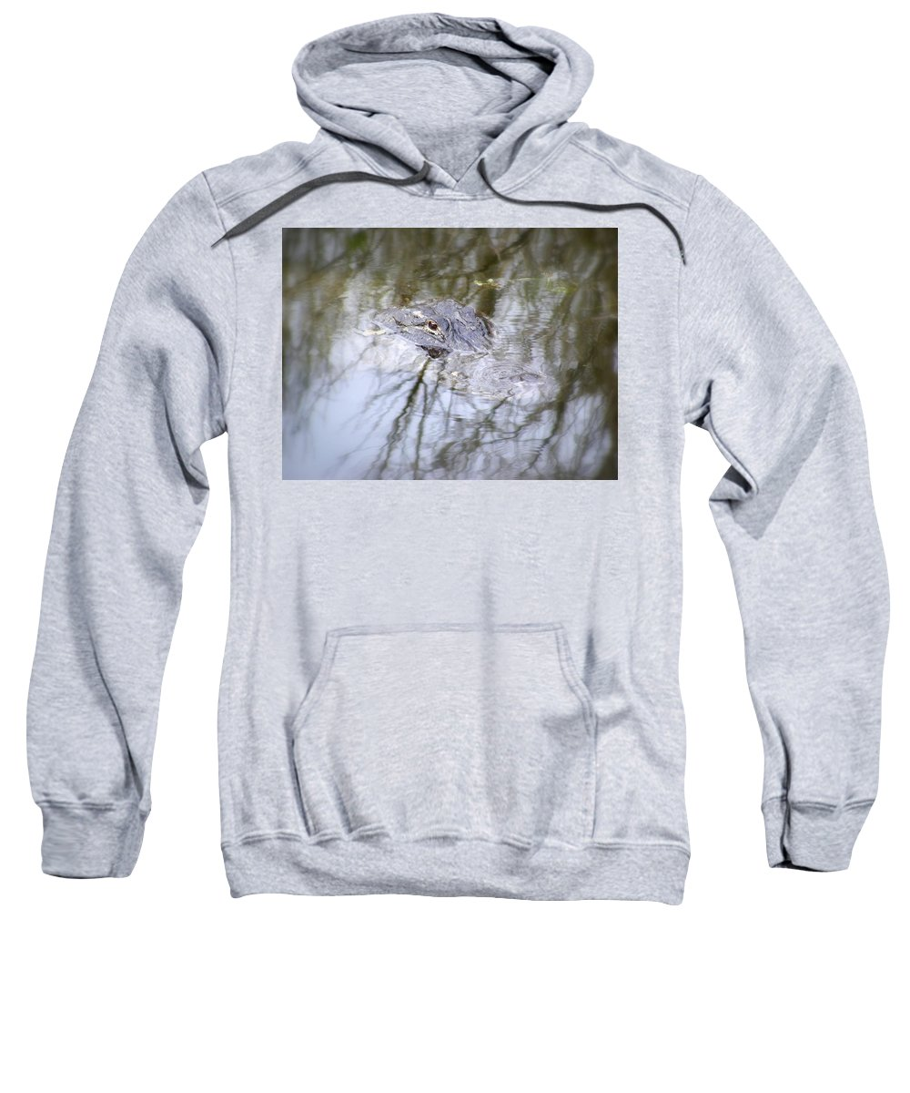 Alligator Sweatshirt featuring the photograph I Am Watching by Ed Smith