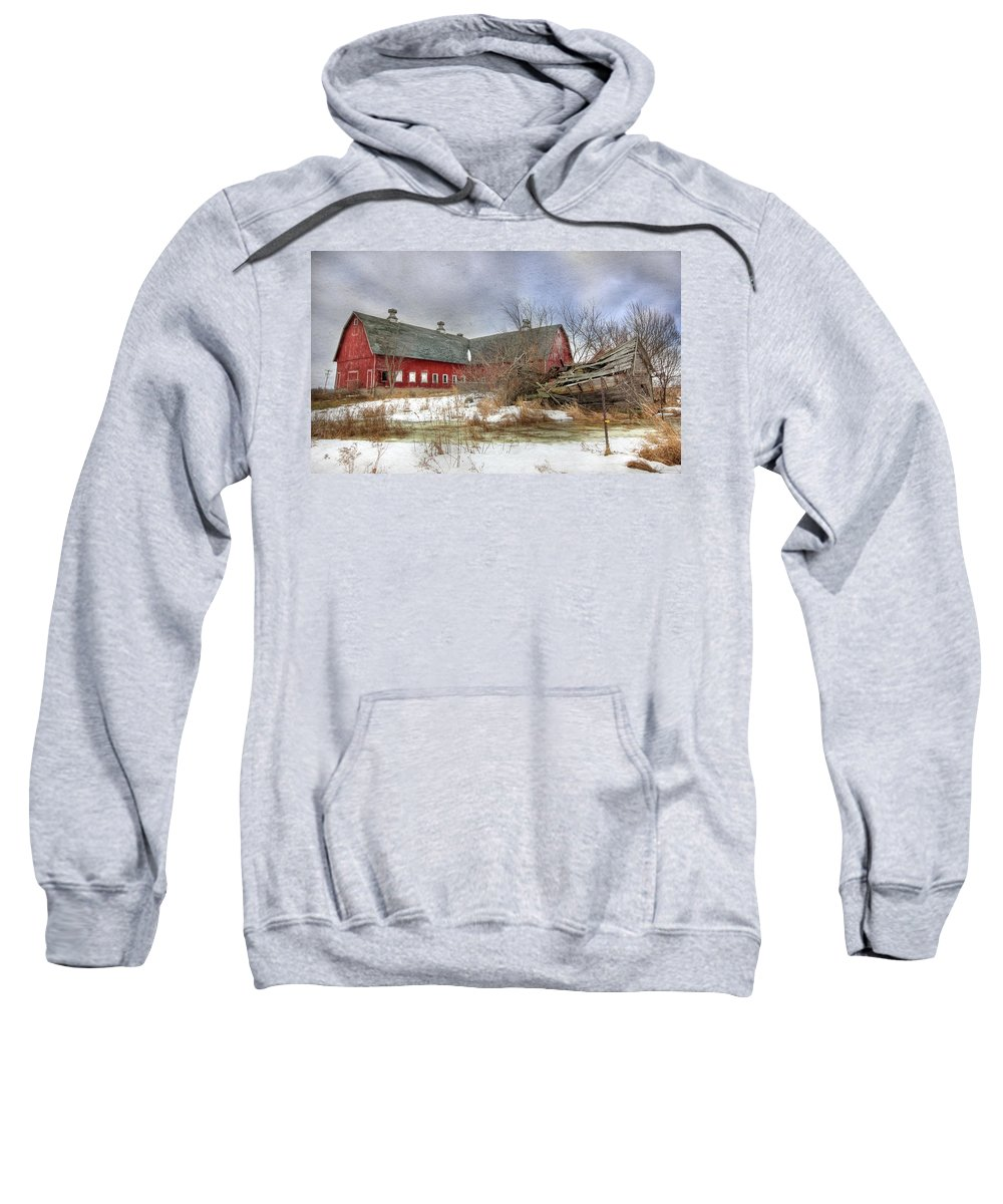 Old Red Barn Sweatshirt featuring the photograph I Fall To Pieces by Lori Deiter