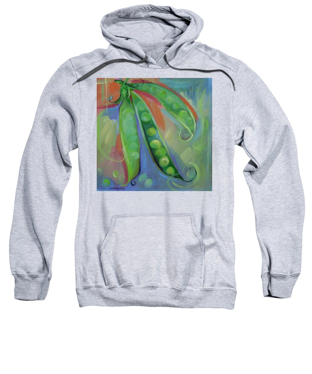 Peas Sweatshirt featuring the painting I Wish You Peas by Ginger Concepcion