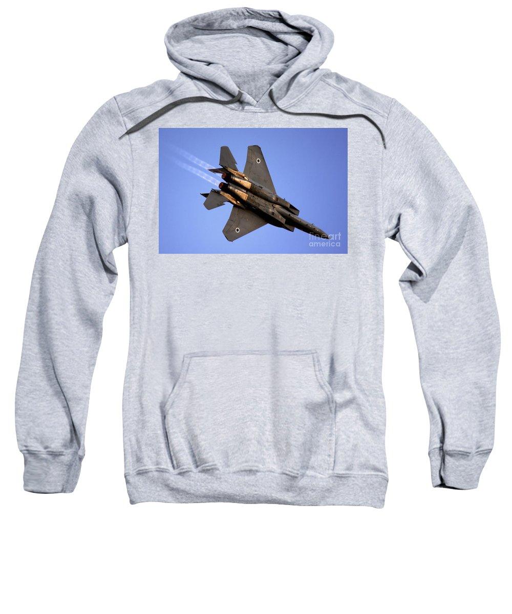 Aircraft Sweatshirt featuring the photograph Iaf F15i Fighter Jet On Blue Sky by Nir Ben-Yosef
