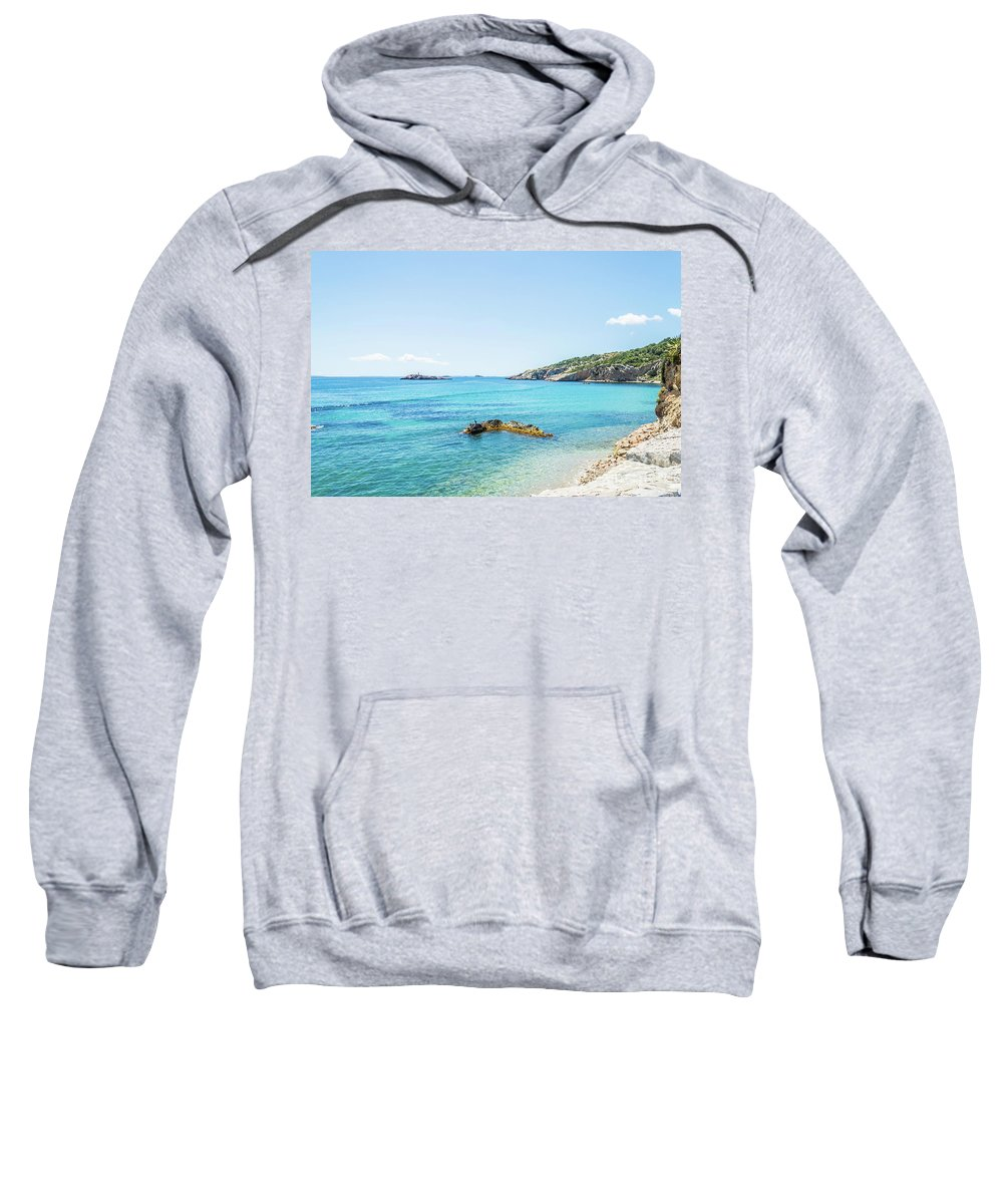 Ibiza Sweatshirt featuring the photograph Ibiza Coastline by Steve Purnell