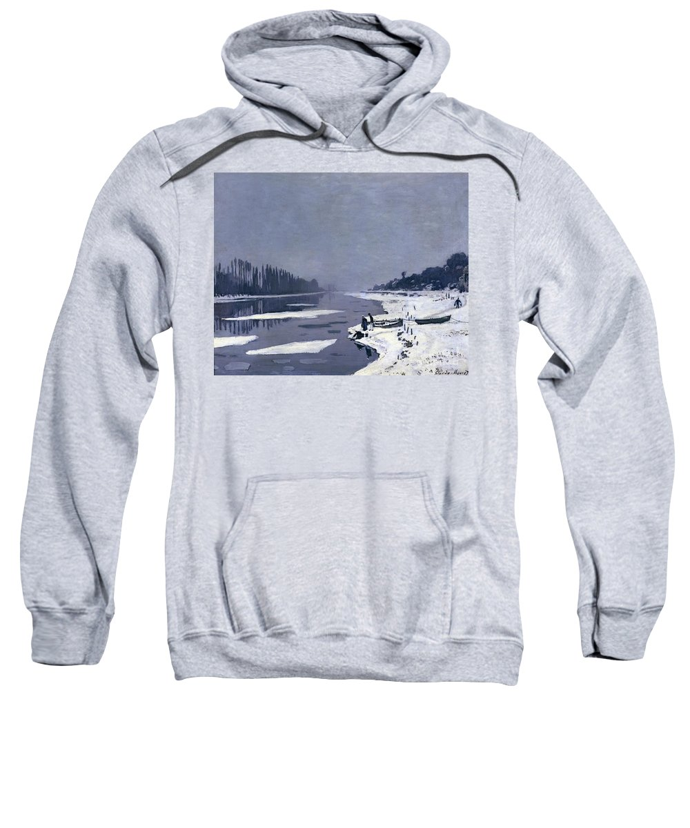 Claude Sweatshirt featuring the painting Ice On The Seine At Bougival by Claude Monet