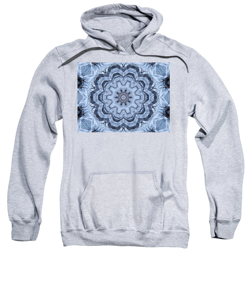 Kaleidoscope Sweatshirt featuring the digital art Ice Patterns Snowflake by Kristin Elmquist