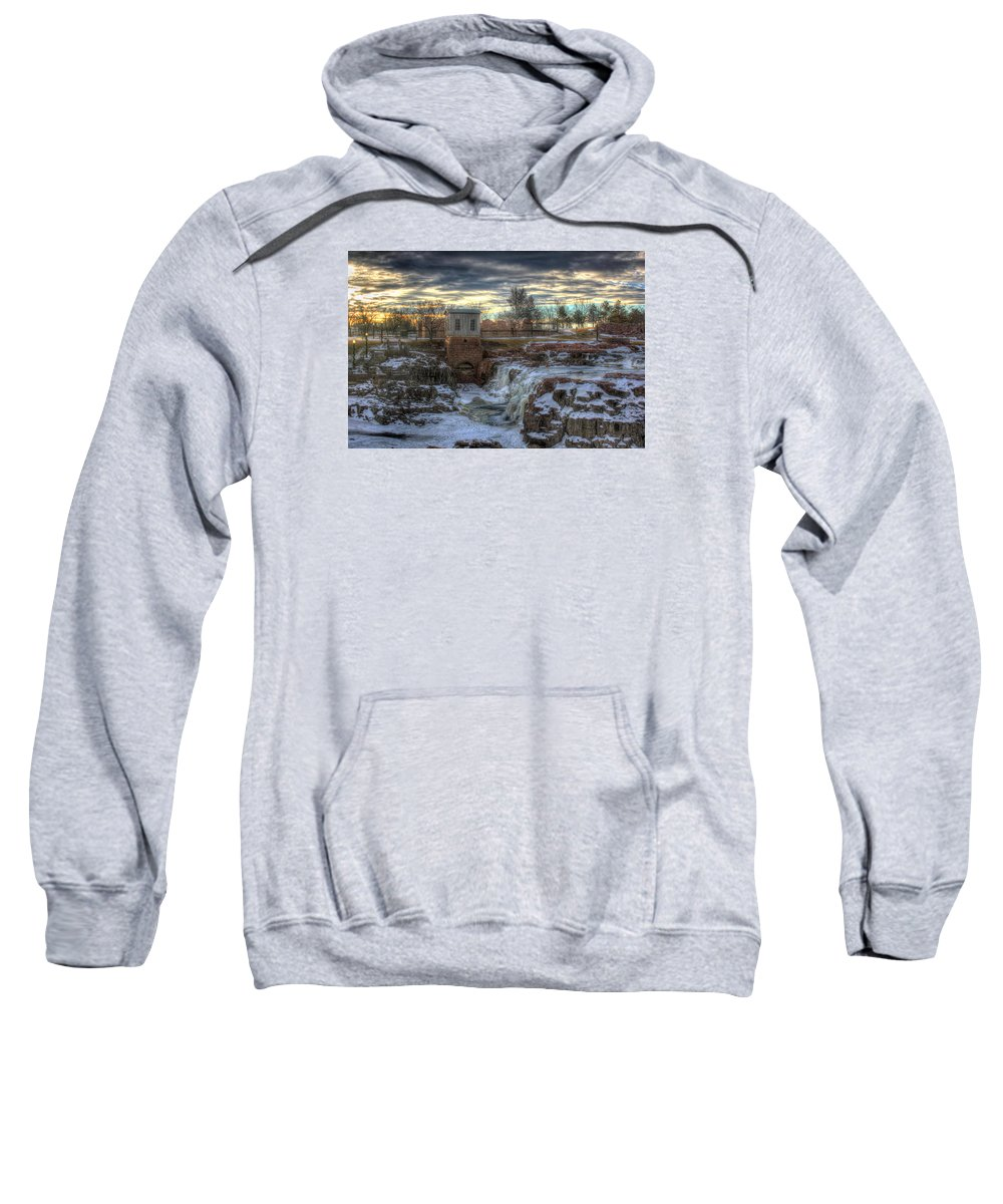Sioux Falls Sweatshirt featuring the photograph Icy Falls by Frank Thuringer