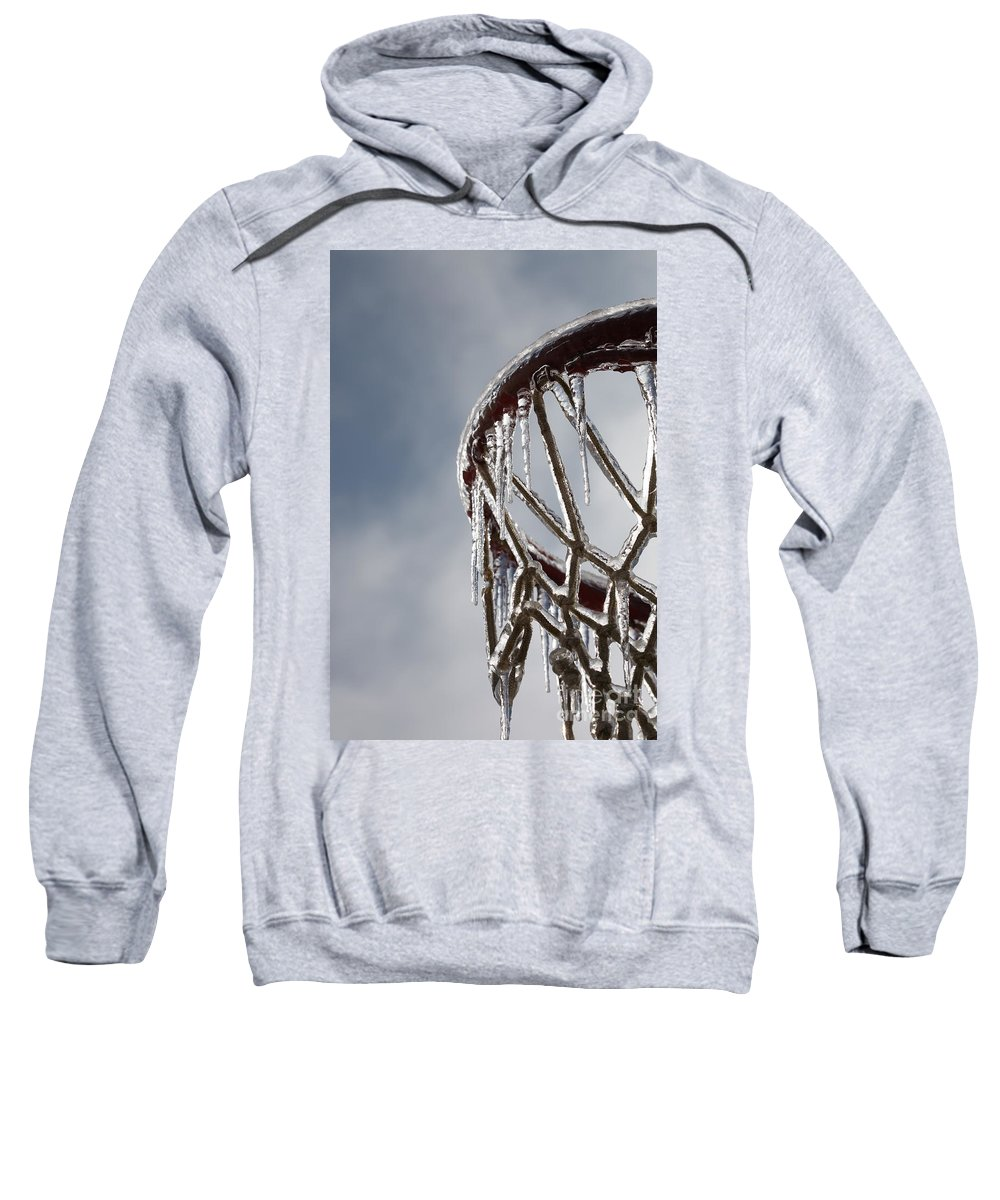 Basketball Sweatshirt featuring the photograph Icy Hoops by Nadine Rippelmeyer