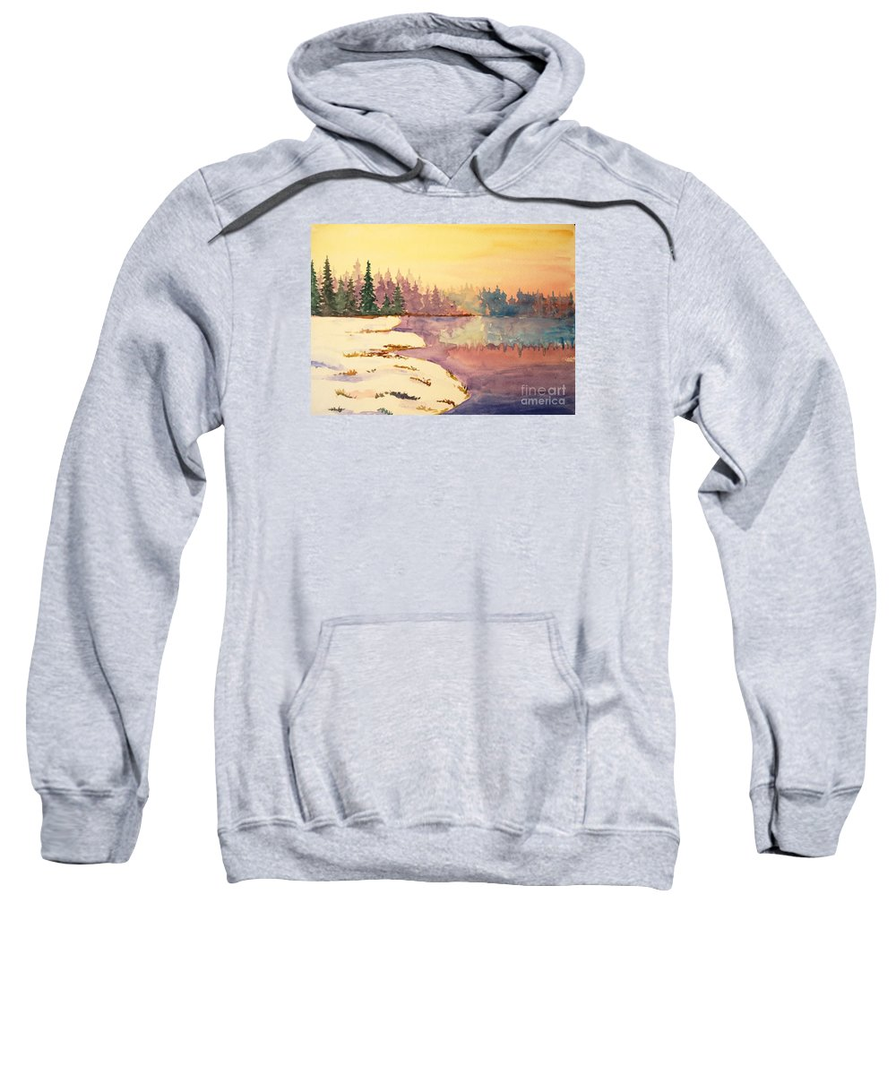 Lake Sweatshirt featuring the painting Icy Lake by Tina Sheppard