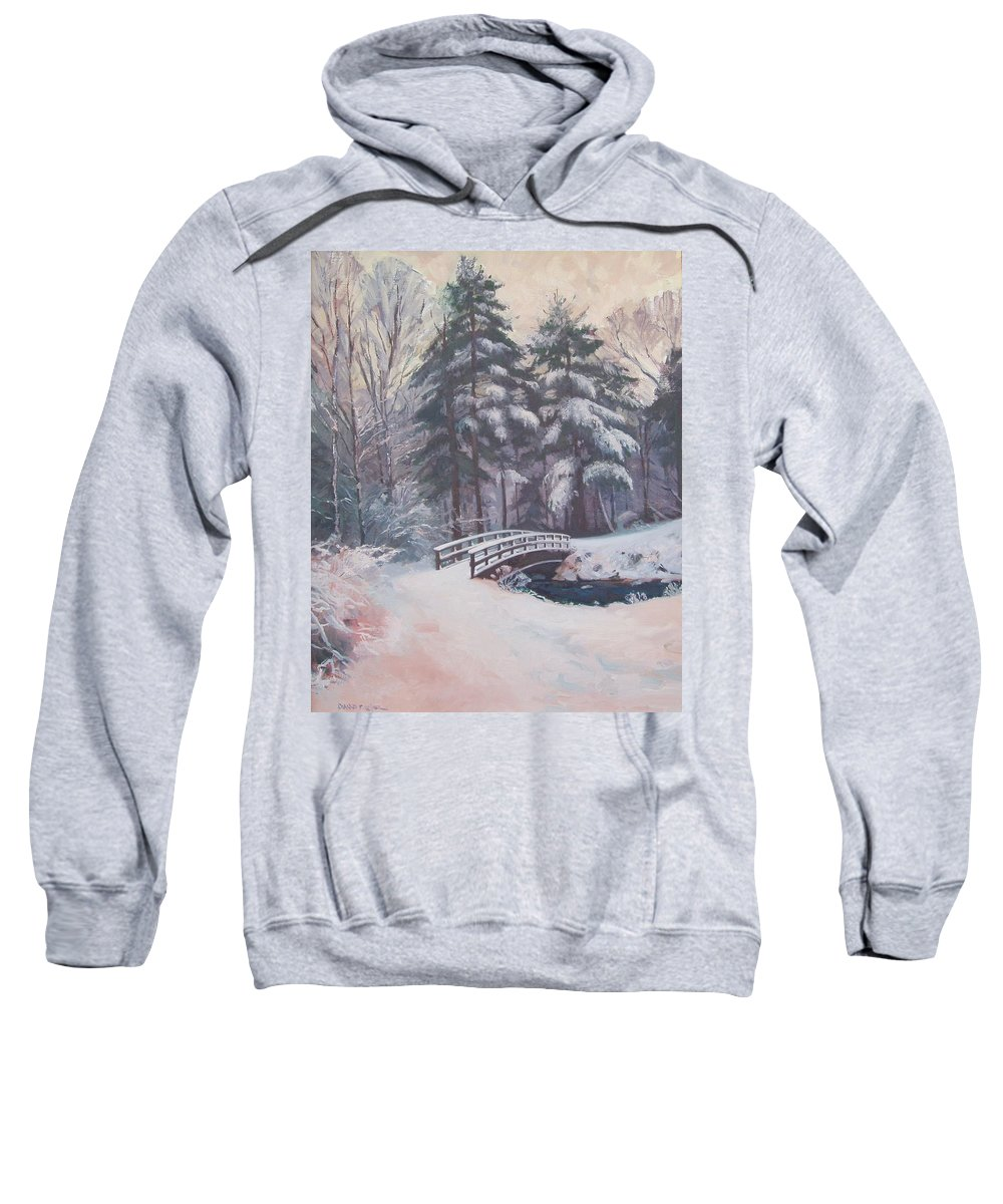 Landscape Sweatshirt featuring the painting Icy Stream by Dianne Panarelli Miller
