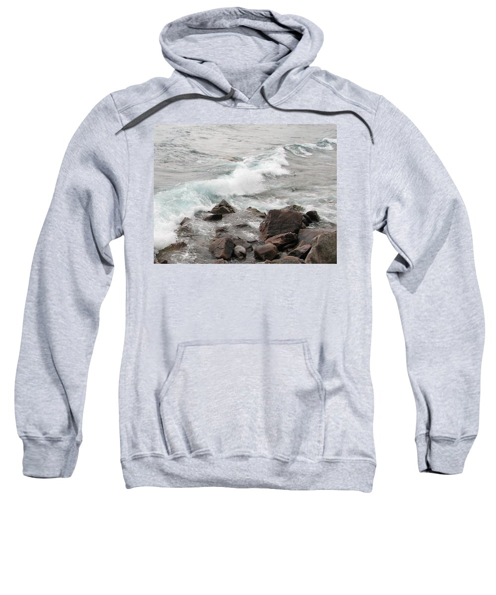 Wave Sweatshirt featuring the photograph Icy Waves by Kelly Mezzapelle