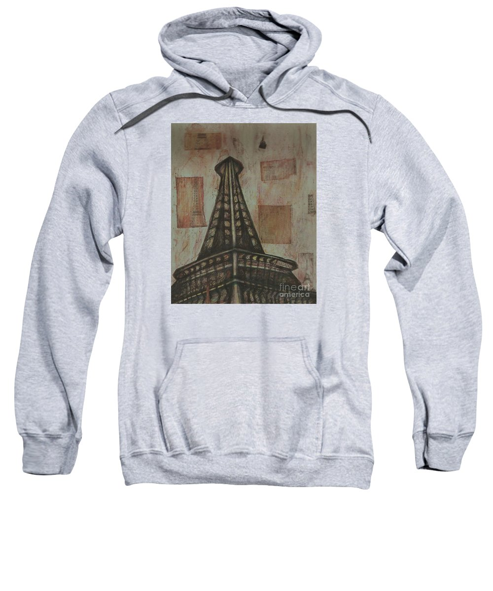Structures Sweatshirt featuring the painting Iffel Tower by Sidra Myers