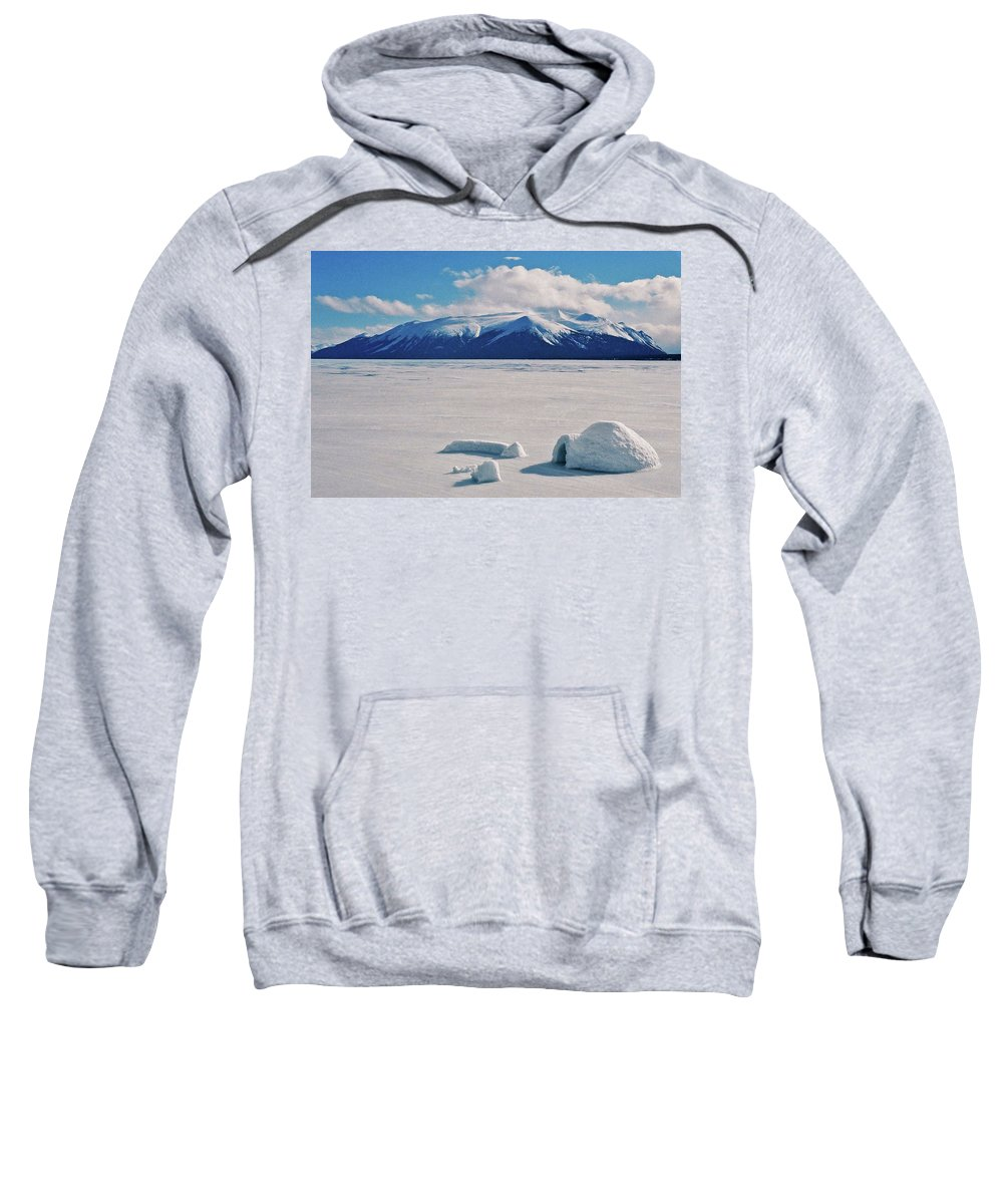Kanada Sweatshirt featuring the photograph Igloo On Atlin Lake - Bc by Juergen Weiss