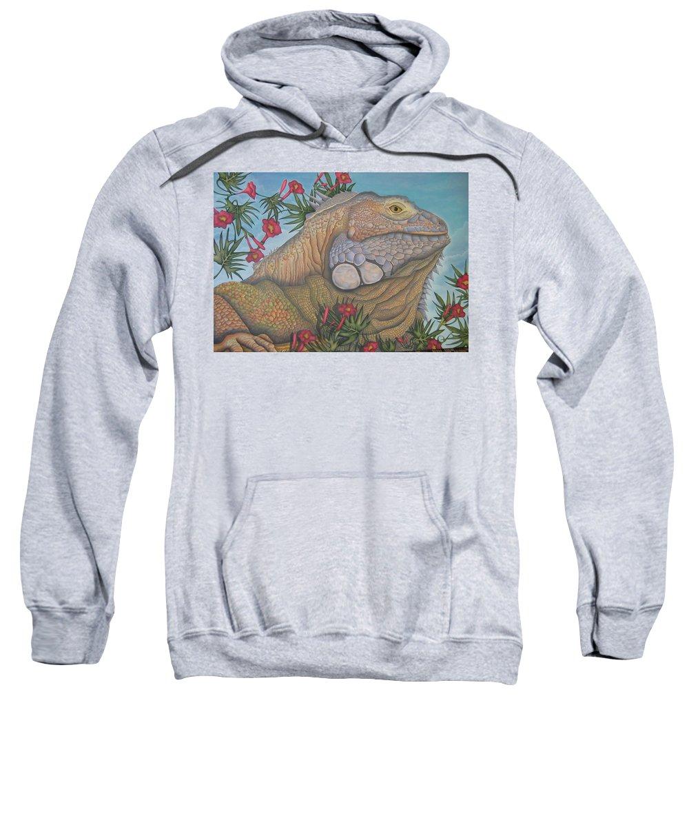 Lizard Sweatshirt featuring the painting Iguana Iguana by Jeniffer Stapher-Thomas