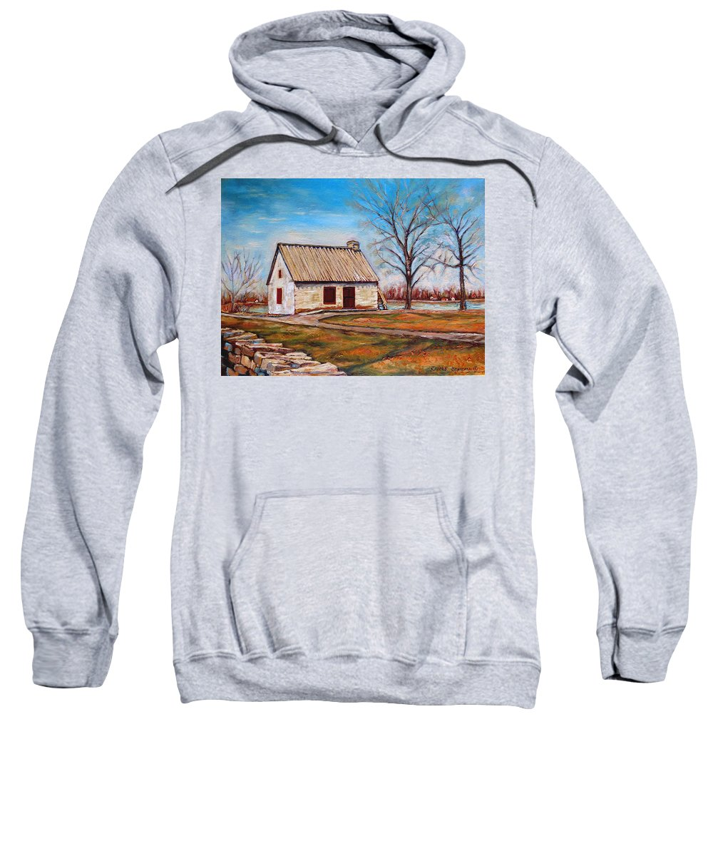 Ile Perrot Sweatshirt featuring the painting Ile Perrot House by Carole Spandau