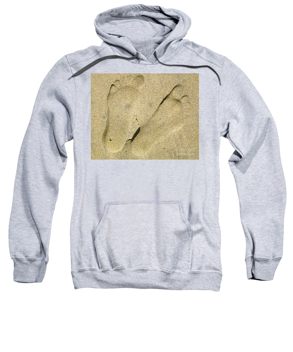 Photograph Of Foot Prints In The Sand Sweatshirt featuring the photograph Illusionary Feet by Gwyn Newcombe