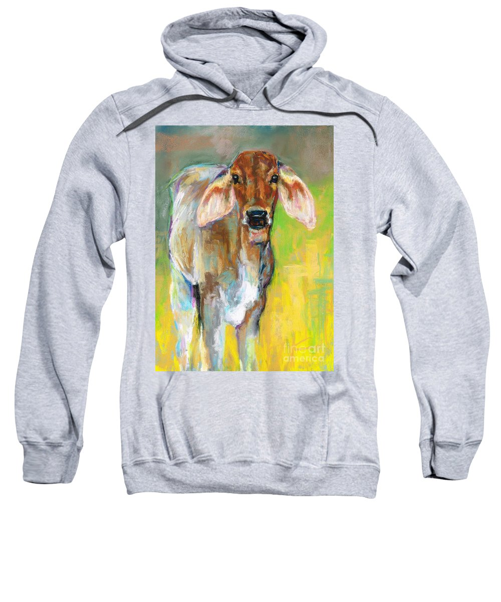 Cattle Sweatshirt featuring the painting Im All Ears by Frances Marino