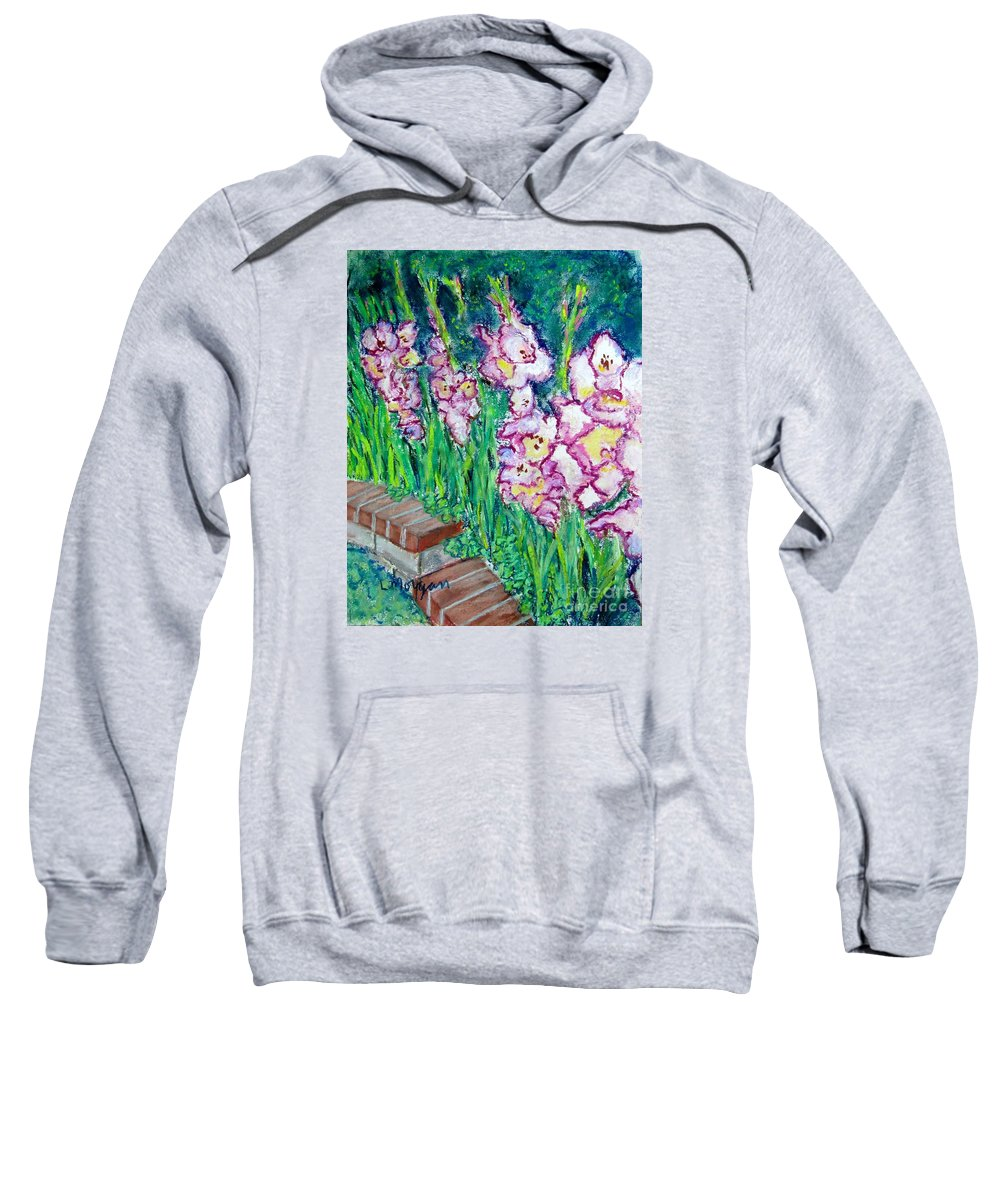 Gladioli Sweatshirt featuring the painting I'm So Glad by Laurie Morgan