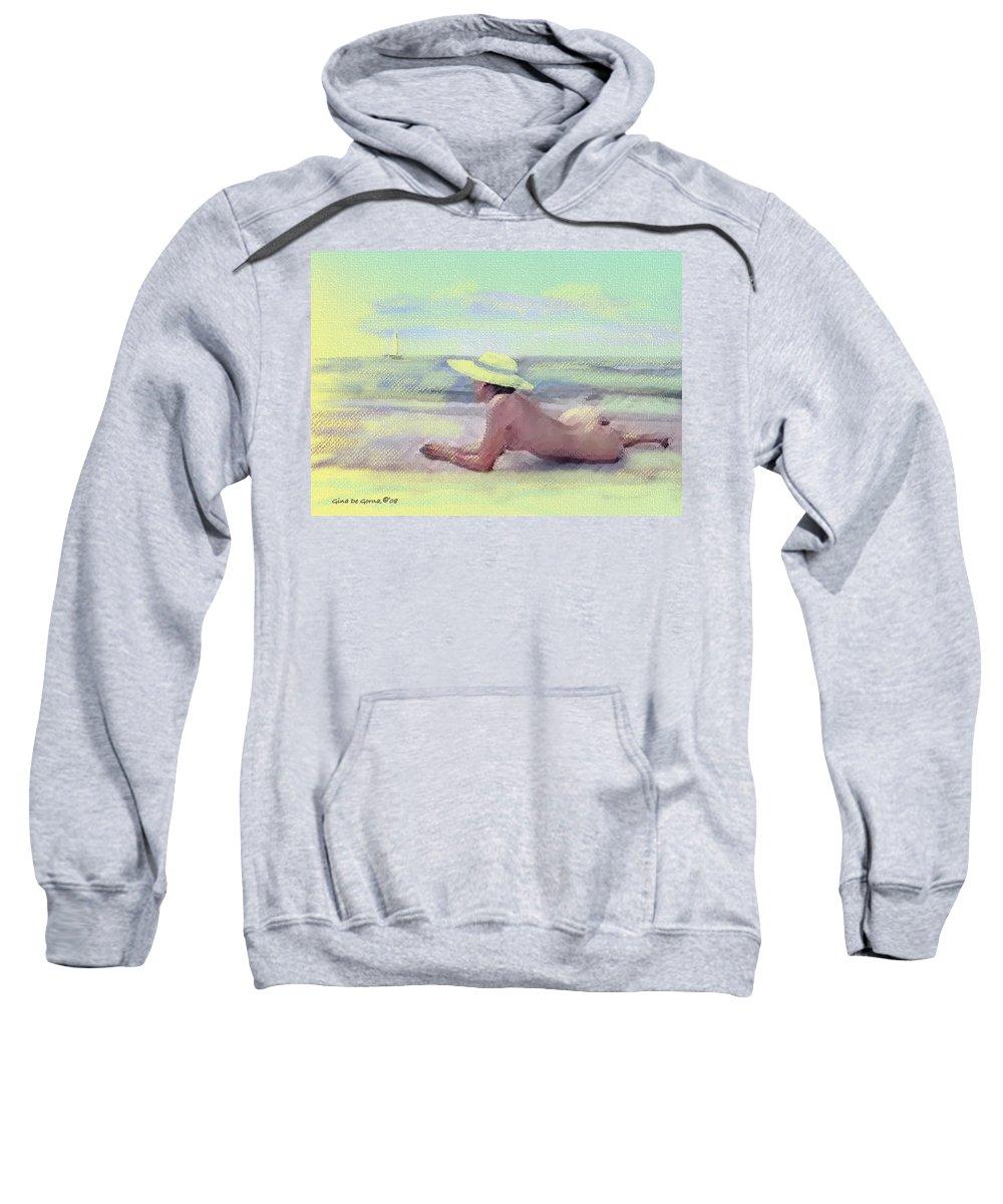 Original Art Sweatshirt featuring the pastel Imagine by Gina De Gorna