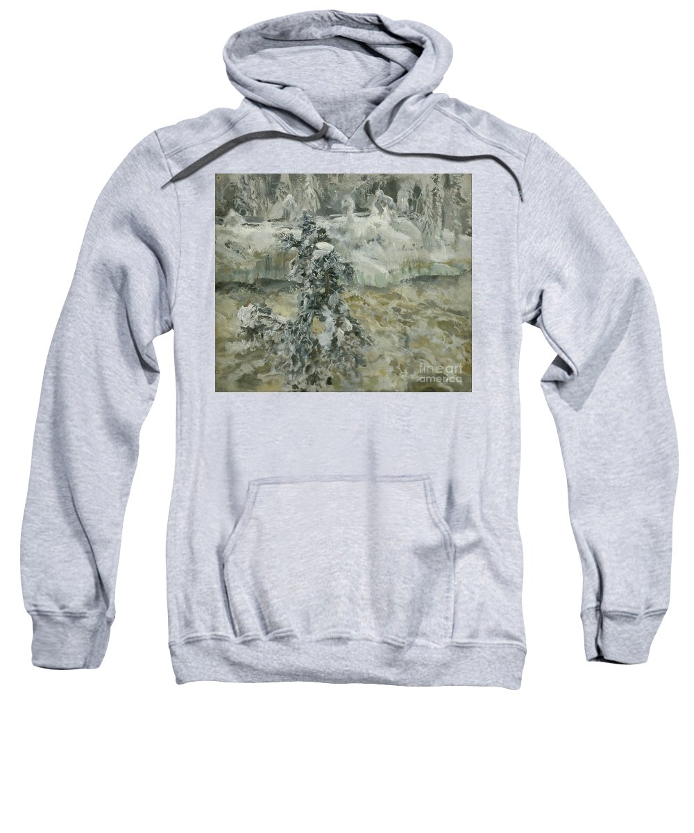 Akseli Gallen-kallela Sweatshirt featuring the painting Imatra In Wintertime by Celestial Images