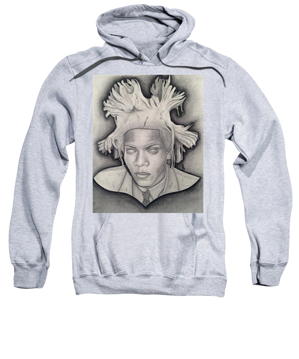 Basquiat Sweatshirt featuring the drawing Immortalizing In Stone Jean Michel Basquiat Drawing by Angelee Borrero
